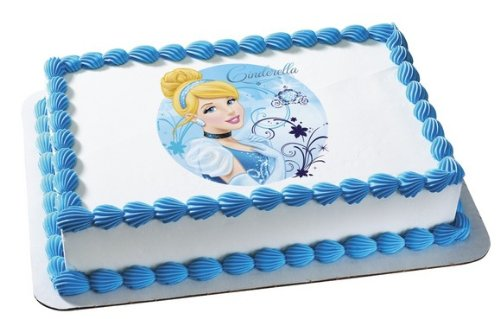 Disney Princess Cinderella-Blue Sparkle Edible Cake Topper - 1