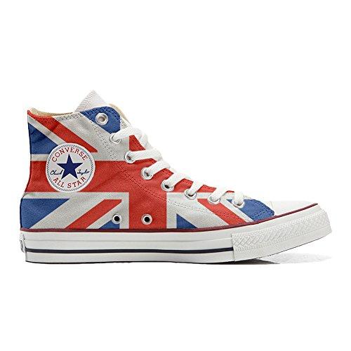 Converse All Star scarpe personalizzate (Prodotto Artigianale) bandiera inglese TG39
