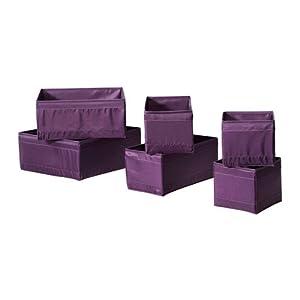 Ikea Skubb Storage Box,drawer Organizer,multiuse Set of 6, Purple