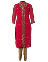 AzraJamil Indian Georgette Tomato Pink Zardozi And Boolean Hand Worked Traditional Churidar Suit For Women - B00YP4FD0Y