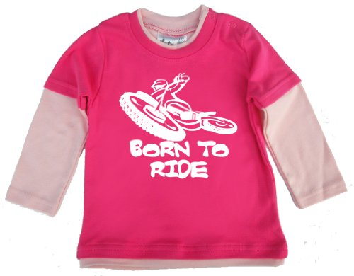 Dirty Fingers - Born To Ride (Motorbike) - Baby Clothing, Layered Skater Top, Hot Pink & Pale Pink, 2/3 Years front-569437
