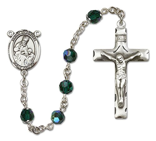Custom Color Choices All Sterling Silver Rosary With Emerald , 6Mm Highest Swarovski Crystal, Austrian Tin Cut Aurora Borealis Beads. Hand-Made In The U.S.A., The Rosary Features A St. Saint Ambrose Medal Pendant Center. St. Saint Ambrose Is The Patron Sa