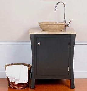 """Luneberg Single Vessel 26"""" Bathroom Vanity in Black"""