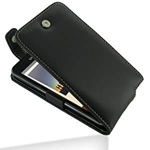 Pdair Black Leather Flip Top Protective Case Cover for Samsung Galaxy Note GT-N7000 + belt clip