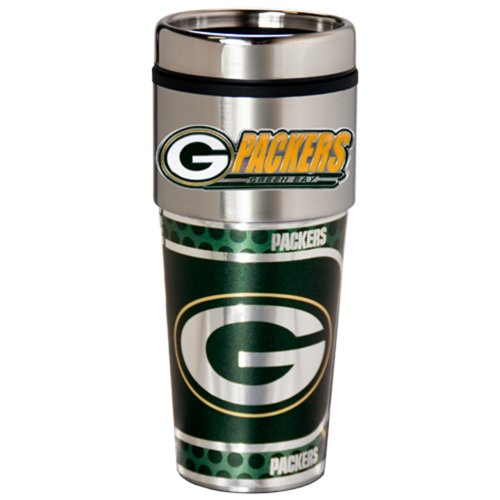 Nfl Green Bay Packers Metallic Travel Tumbler, Stainless Steel And Black Vinyl, 16-Ounce