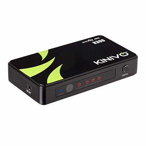Kinivo K300 プレミアム3ポート ハイスピード4K HDMIスイッチ 赤外線ワイヤレスリモート・AC 電源アダプター付 ?最大解像度 4K ウルトラHD & 3D対応