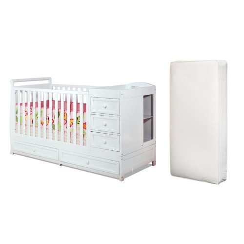 Baby Mile Catherine 3-In-1 Convertible Crib And Luxe Crib Mattress, White front-836555