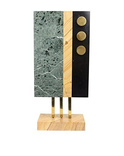 Aviva Stanoff Mid-Century Marble Brass Sculpture, Turquoise/Black/Gold