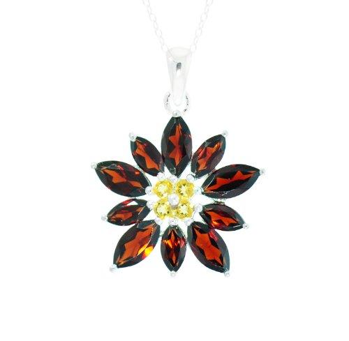 Sterling Silver Citrine and Garnet Flower Pendant Necklace, 18