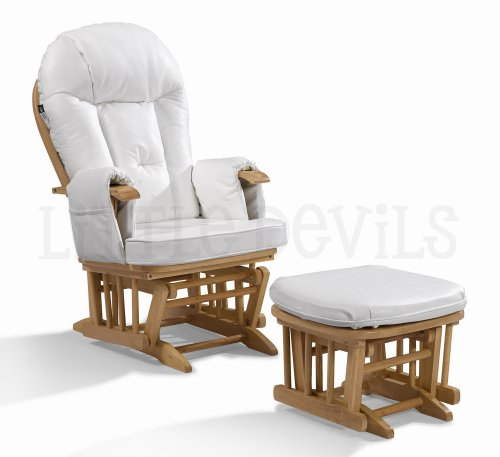 WHITE LEATHER Nursing Glider/Gliding Rocking Maternity Chair with Free Footstool and Protective Cover
