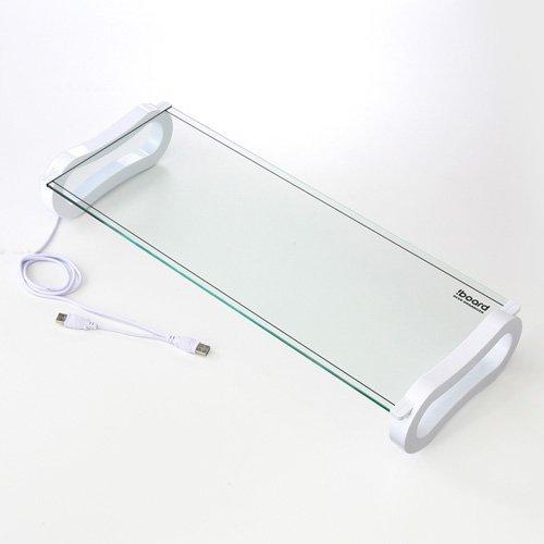 サンワダイレクト 液晶モニタスタンド ガラス天板 USBポート付 ホワイト 100-MR050W