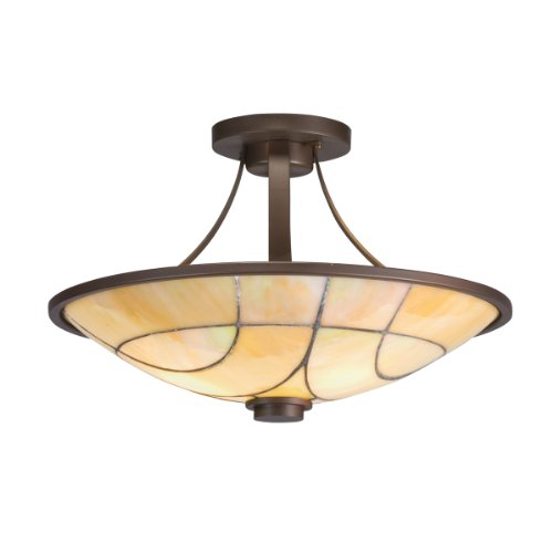 B0036GV5OU Kichler Lighting 69125 2-Light Spyro Art Glass Semi-Flush Ceiling Light, Olde Bronze