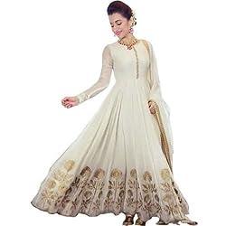 ZFashion Women's White & Gold Color Faux Georgette Stylish Anarkali Dress