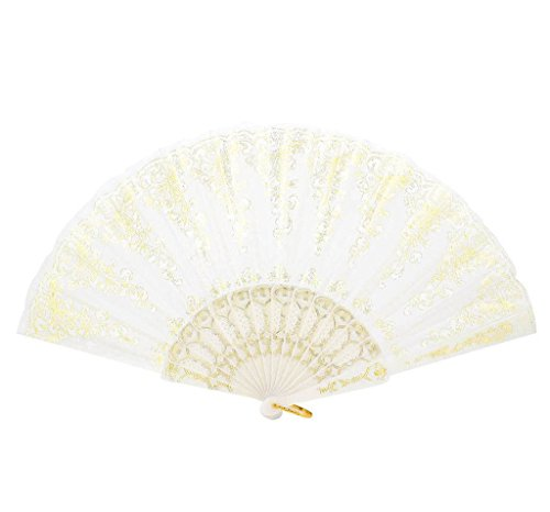 Spanish Flamenco Dance Party Wedding Gold Lace Silk Folding Hand Held Fan White