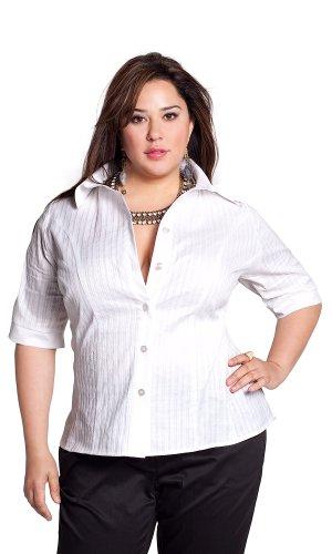 Cheap IGIGI by Yuliya Raquel Plus Size Gail Cotton Blouse in White