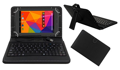 ACM PREMIUM USB KEYBOARD TABLET CASE HOLDER COVER FOR MICROMAX CANVAS TAB P480 With Free MICRO USB OTG - BLACK