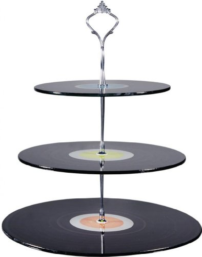 "Beautiful 3-Tiered Glass Serving Trays 13.5"" High ~ Fruits, Cakes & Desserts 3 Tiered Plates Server ~ Party Centerpiece"
