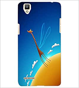 PrintDhaba Angel Giraffe D-2016 Back Case Cover for OPPO F1 (Multi-Coloured)