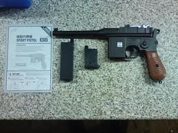 Airsoft Spring Pistol Mauser C96 Style Shoots Around 2 Clips