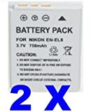 Two (2x) Li-on EN-EL8 ENEL8 Batteries For Nikon Coolpix S51c S52 S52c