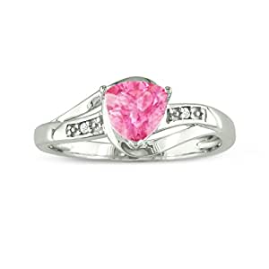 3/4ct Trillion Created Pink Sapphire and Diamond Ring in Sterling Silver