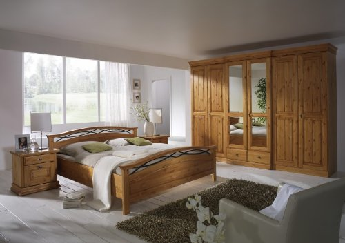 Schlafzimmer komplett 6türig Kleiderschrank Doppelbett Kiefer massiv, Farbe:honig gebeizt/lackiert online kaufen