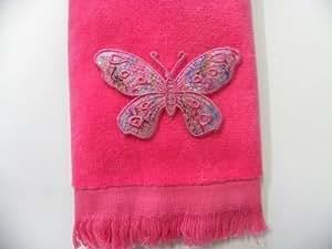 Amazon.com: Butterfly Bath Hand Fingertip Towel Pink Applique Spring