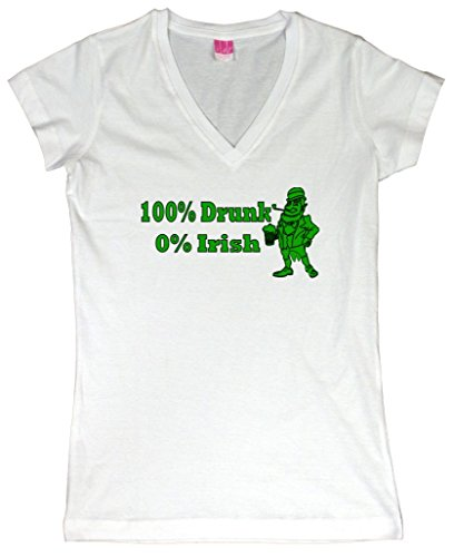 100% Drunk 0% Irish Funny Beer St. Patrick's Day Juniors V-Neck T-Shirt