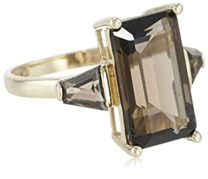 14k Yellow Gold Smoky-Quartz 3-Stone Ring, Size 7