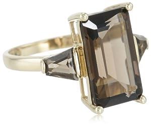 14k Yellow Gold Smoky-Quartz 3-Stone Ring, Size 7