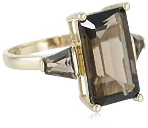 14k Yellow Gold Smoky-Quartz Three-Stone Ring, Size 7