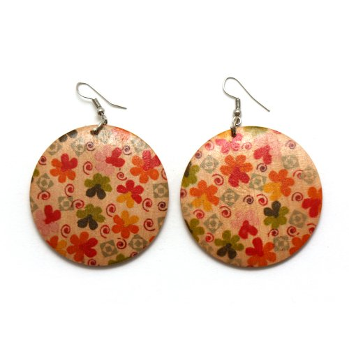 [Idin Drop Earrings - Wooden disc drop earrings with flowers and spirals] (1960s Costume Jewelry)