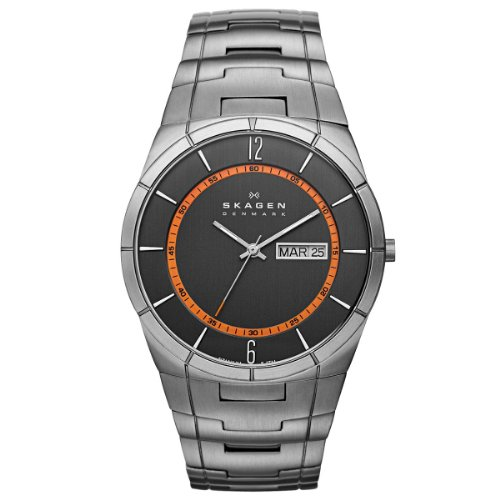 Skagen Men's Quartz Watch with Grey Dial Analogue Display and Grey Titanium Bracelet SKW6008