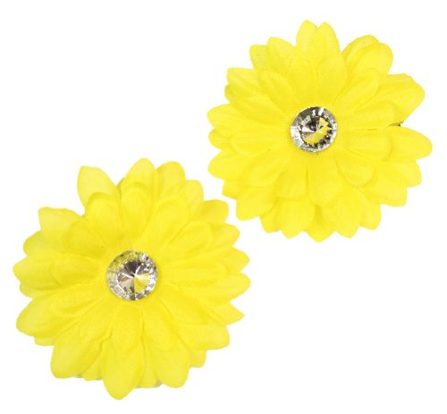 Webb Direct 2U Baby-Girls Set Of 2 Daisy Rhinestone Flw Clips Yellow (1149) front-879393