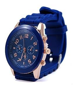Neverland 15 Colors Unisex Geneva Silicone Jelly Gel Quartz Analog Sports Watch Navy blue - Best Present for Kid Boy Girl
