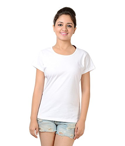 Neevov Women's Cotton T-Shirt (WPRC24S01WT-XL_White_X-Large)
