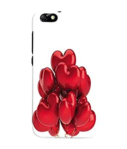 Fuson 3D Printed Valentine Hearts Designer Back Case Cover for Huawei Honor 4X - D587