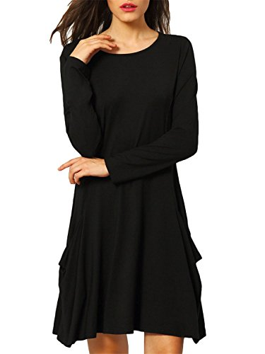 : Women's Long Sleeve Pockets Casual Swing Plain T-shirt Dress,XL