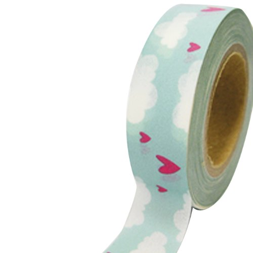 Dress My Cupcake Dmc41Wt406 Washi Decorative Tape For Gifts And Favors, Valentines Day Love Clouds front-503877