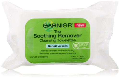 Garnier Soothing Remover Cleansing Towelettes For Sensitive Skin, 25 Count