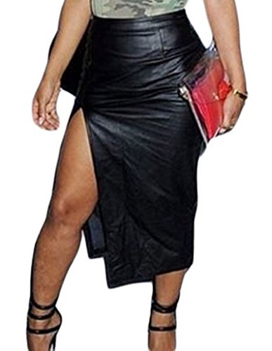 Christmas MYQueen Womens Sexy Faux Leather Front Slit High Waist Midi Skirt Black Medium
