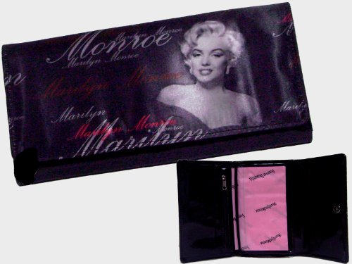 Marilyn Monroe Black Dress Long Wallet /Check Book Cover Bonus Cellphone Charm