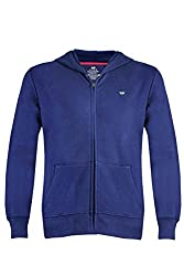 UV&W Full Sleeve Hooded Men's Navy-Blue Sweatshirt