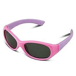 RIVBOS RBK003 Rubber Flexible Kids Polarized Sunglasses Wayfarer Style Age 3-10 (Round Pink)