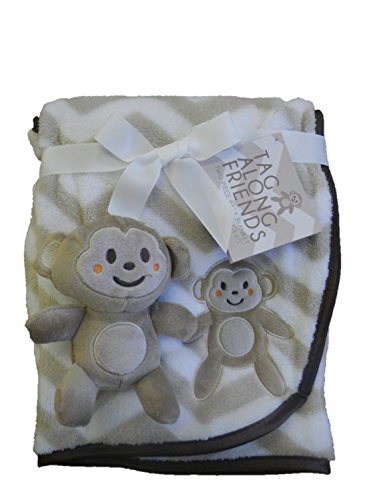 Tag Along Friends Ivory Monkey Baby Blanket