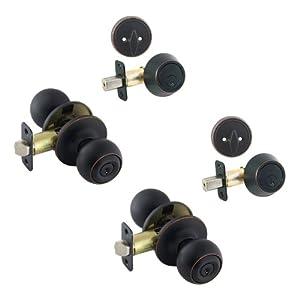 2 - Ashland Oil Rubbed Bronze Entry Knob with Matching Single Cylinder Deadbolt Combo Packs Keyed Alike (We Key Lock Orders Alike for Free)