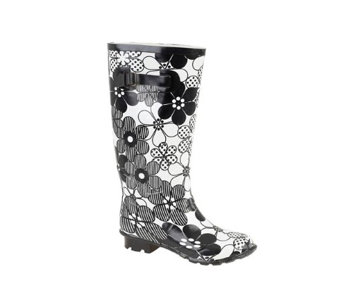 Ladies Knee High, Wide Calf Wellies with Floral Design