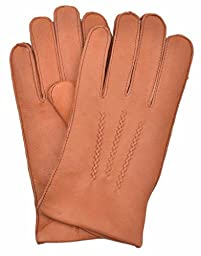 YISEVEN Men\'s Deerskin Leather Cashmere Lined Winter Driving Gloves-COGNAC Color, 9.5\