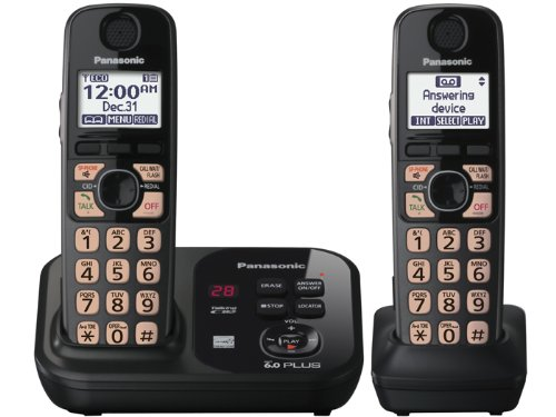 Panasonic Cordless Phone KXTG4732B DECT 6.0 Plus Expandable Two Handset with Digital Answering System