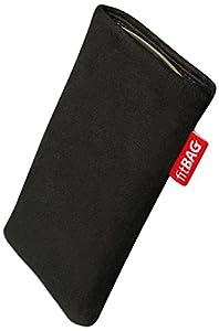 fitBAG Folk Schwarz Handytasche Tasche aus feinem Wildleder Echtleder mit Microfaserinnenfutter für HTC One mini 2